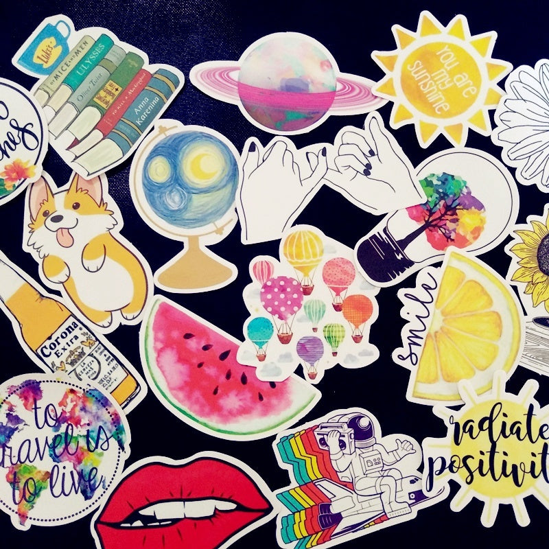 53Pcs/pack Fresh summer graffiti sticker pack For Moto car & suitcase cool laptop stickers Skateboard sticker