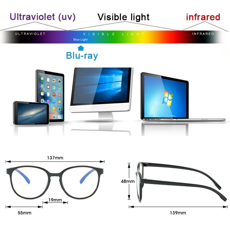 1pc Anti-blue Light Glasses Female Flat Mirror Round Frame Male No Degree Mobile Phone Computer To Protect Myopic Eyes