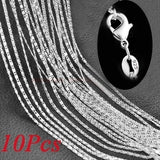 European and American classical leisure 2mm wide 925 sterling silver flat necklace 18-30 inch with chain clavicle chain single chain 5PCS / 10PCS / set