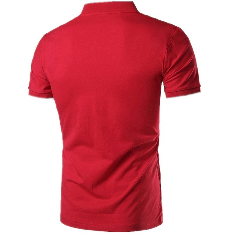 Summer New Men's Fashion Short-sleeved Solid Color Polo Shirt