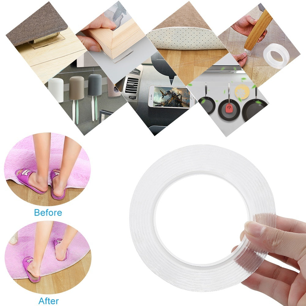 1/2/3/5M Nano Magic Tape Anti-slip Fixed Adhesive Tape Double-Sided Traceless Washable Adhesive Tape