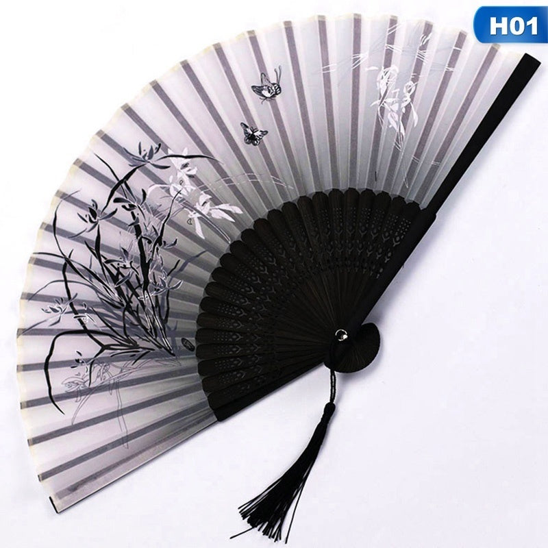 Chinese Vintage Bamboo Folding Hand Fan Flower Printing Dance Fan Party Pocket Gifts