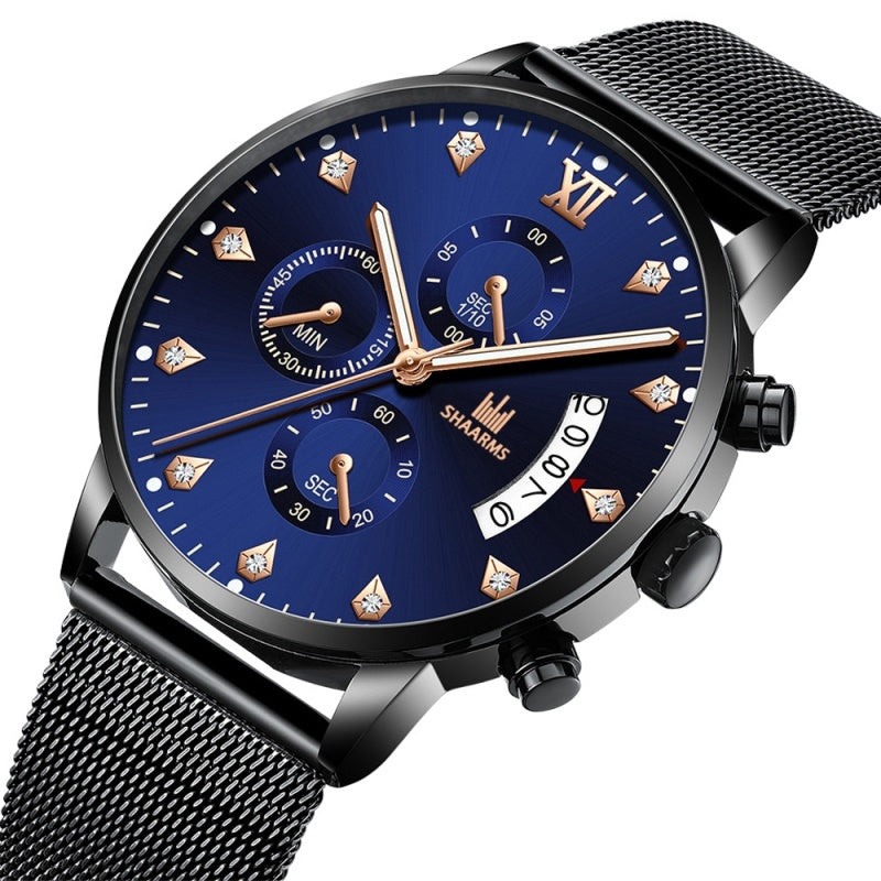 Men'S Fashion Quartz Watches Stainless Steel Metal Mesh Strap Date Display Luxury Blue Watches Business Sport Clocks Montre Homme