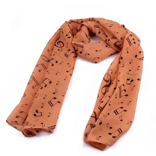Korean Style New Fashion Women Shawl Wrap Scarf Music Note Printed Lady Chiffon Silk Scarf Apparel & Accessories