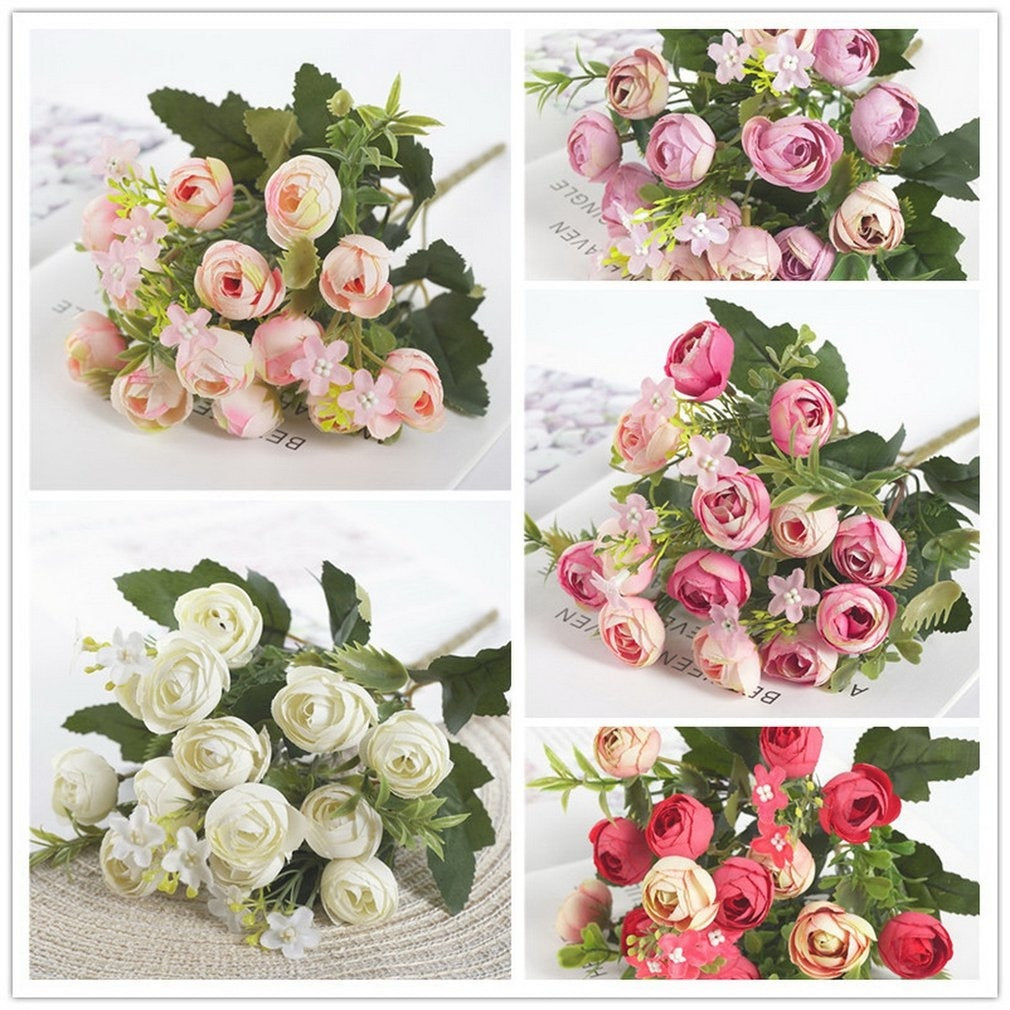 13 Heads Elegant Artificial Mini Rose Bouquet Home Decor Silk Flower Romantic Wedding Party Supplies  BY