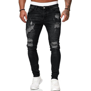 2019 Men Fashion Casual Mid Waist Ripped Skinny Hole Jeans Bleached Pencil Pants for Female