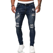 Load image into Gallery viewer, 2019 Men Fashion Casual Mid Waist Ripped Skinny Hole Jeans Bleached Pencil Pants for Female