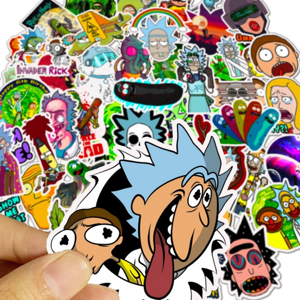 50pcs Cartoon Rick And Morty Stickers for Skateboard Motorcycle Luggage Sticker Fashion Decals DIY Stickers