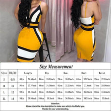 Load image into Gallery viewer, 2019 New Summer Fashion Women Sexy Spaghetti Strap Backless Dress Bodycon Sleeveless Deep V-Neck Contrast Color Package Hip Dress Evening Party Dress