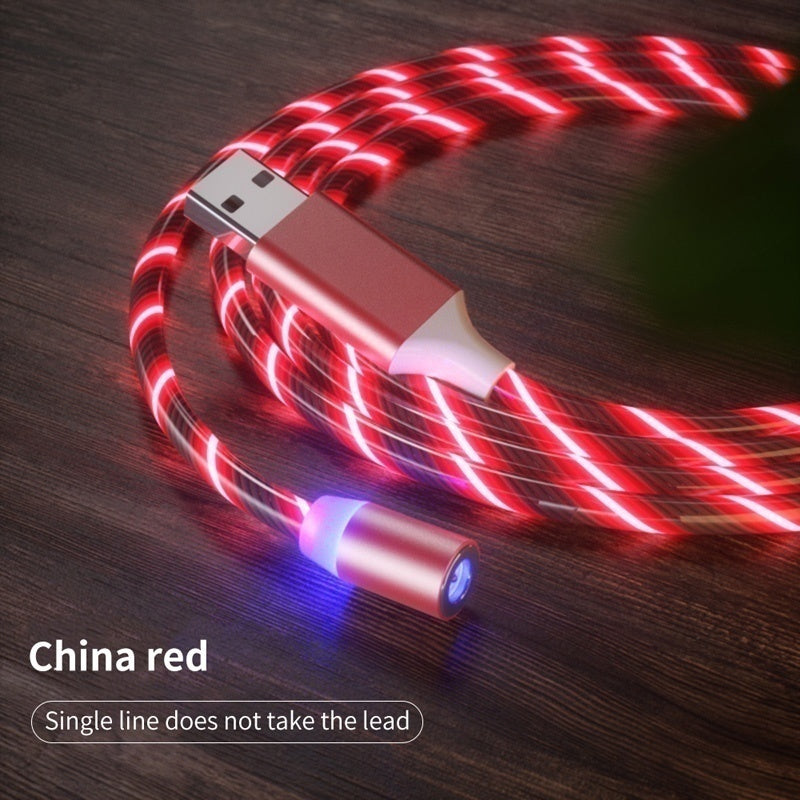 New Upgrade LED Magnetic Cable Streamer Data Flowing LED Light Fast Charge Cable Suitable For iPhone Andriod Samsung OPPO VIVO Huawei LED Magnetic Wire CordType-C Adapter