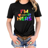 2019 Funny Letter Print O Neck Short Sleeve Lgbt Couple T Shirt Personality Gay Pride T-Shirt Lesbian Couple T Shirt