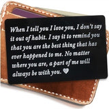 Boyfriend Gifts Engraved Wallet Inserts, Permanent Engraving, Anniversary Gifts for Men, Husband Gifts