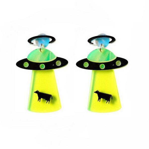 1 Pair of Cute Exaggerated Alien Earrings UFO Spacecraft Earrings for Funny Ear