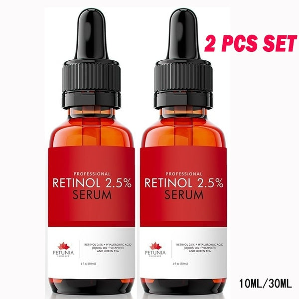 2Pcs Best Retinol Serum 2.5% with Hyaluronic Acid + Jojoba Oil + Vitamin E and Green Tea for the Face - Natural & Organic - Age Defying Anti-Aging Anti Wrinkle Firming Repair Treatment 10ML/30ML