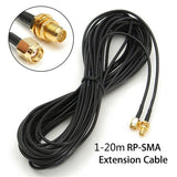 1pc 1-20M Black RG174 SMA Male To SMA Female Antenna Extension WiFi Router Cable Adapter