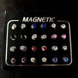 12pair/24pcs Magnetic Ear Studs Magnetic Earrings for Women Fake Piercing Magnetic Earrings for Kids Fake Nose Ring Clip on Earrings