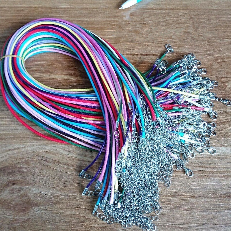 12Pcs Leather Adjustable Braided Rope Necklaces&Pendant Lobster Buckle Clasp String Cord Wax Thread