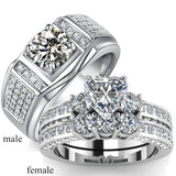 Couple Diamond Rings His Hers Heart Shape Three-Sonte Zircon S925 Silver Women'S Wedding Ring Men'S Ring
