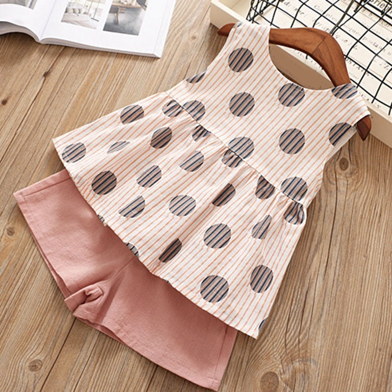 Baby Girls Summer Clothes Polka Dot Printed Sleeveless Tops with Big Bow+Pure Color Shorts Outfits