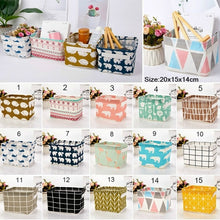 Load image into Gallery viewer, Cute Desktop Storage Basket Animal Printed Storage Bag Cotton Linen Storage Box Cabinet Bedside Wardrobe Closet Storage Bag
