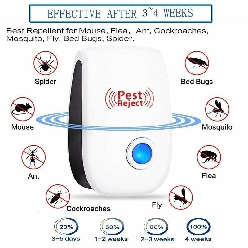 Ultrasonic Pest Repeller Control Electronic Repeller Mosquito Mice Rat Reject Insect Roach Ant Spider Flea Killer (US/UK/EU/AU Plug)