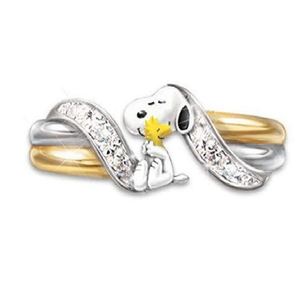 1pcs Cute Cartoon Dog Two Tone Charming Size 6-10 Ring for A Friend's Gift