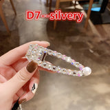Full Crystal Hairpins Woman Hair Accessories Pearl Hair Clips Korean Style Hair Grip Girls Sweet BB Clips Barrettes Girls Crystal Hair Clip Girls'Birthday Gifts (Colour: Rose gold, silver)