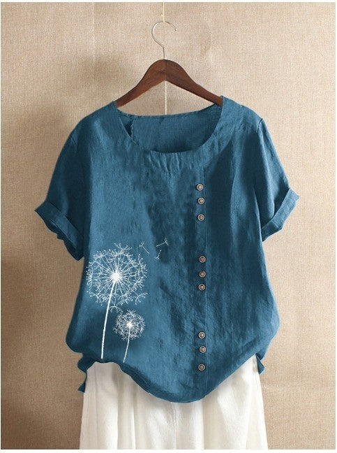 Women Fashion Floral Printed Short Sleeve T Shirt Summer Casual Round Neck Shirt Loose Blouse Plus Tops
