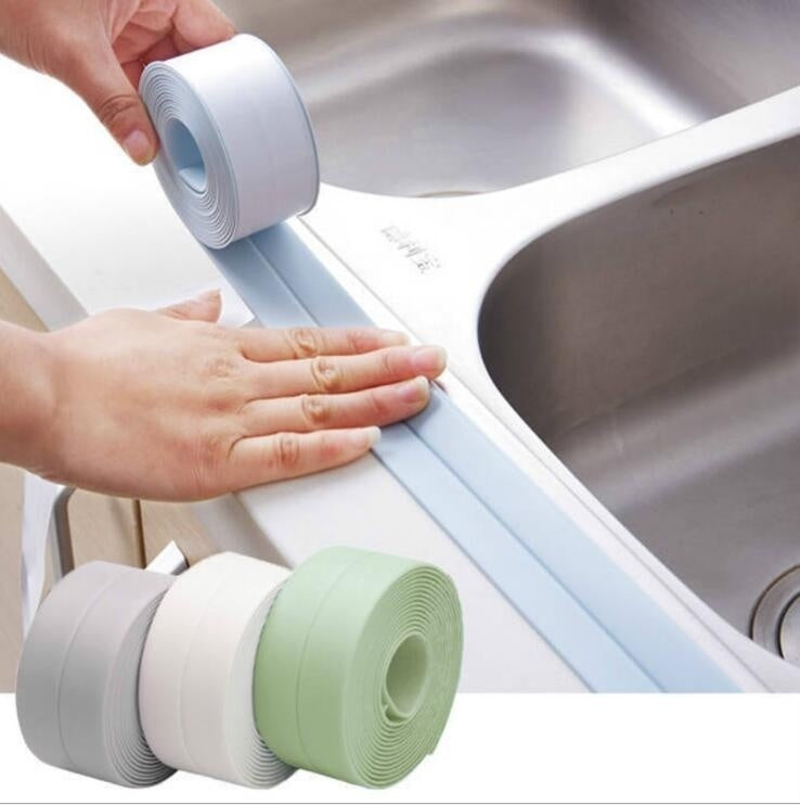 1PCS Home PVC Material Sink Crack Strip Kitchen Bathroom Bathtub Corner Sealing Tape Waterproof Mold Seal Strip Tape Corner Sticker Waterproof Strip Sealing Tape (Width 2.2cm length 1m or 2m or 3m)