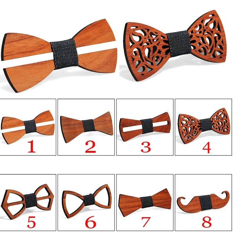 8 Colors Fashion Tie Men's Bow Tie Natural Environmental Protection Handmade Collar Flower Red Pear Solid Wood Bow Tie