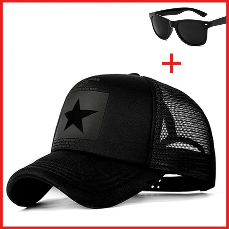Summer baseball cap ladies men's mesh breathable Snapback cap unisex adjustable sports cap dad hat and a piece of fashion sunglasses