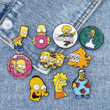 Load image into Gallery viewer, Funny Simpsons Enamel Pin Humor Cartoon Brooch Comic Badge Creative Cartoon Jewelry Gift for Friend