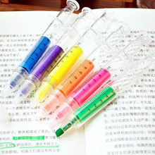 Load image into Gallery viewer, New 6pcs Creative Syringe Highlighter Pen Plastic School Office Nurse Stationery