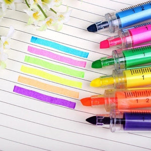 New 6pcs Creative Syringe Highlighter Pen Plastic School Office Nurse Stationery
