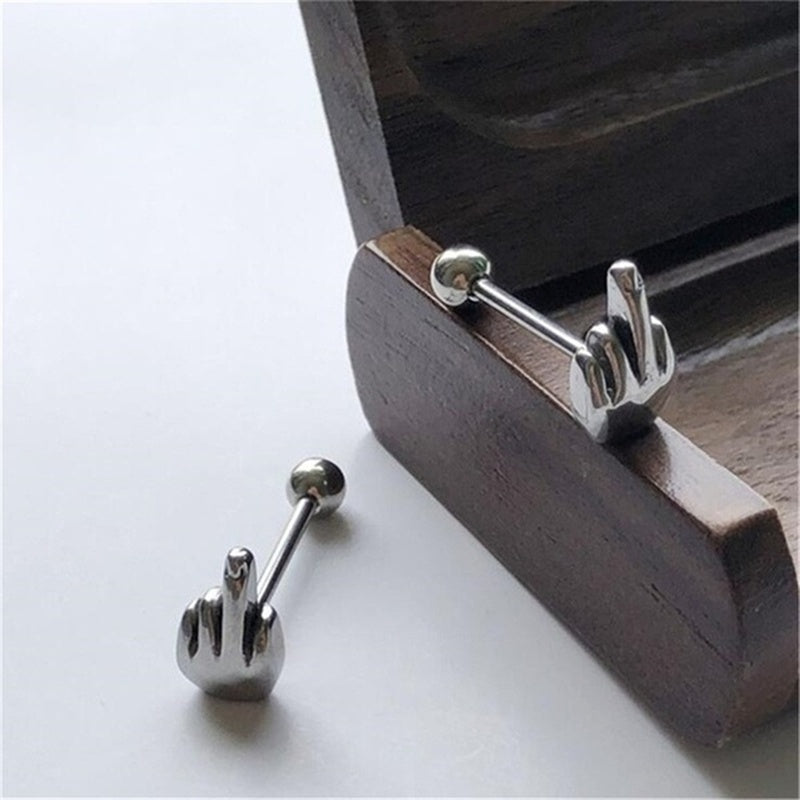 316L Tongue Barbell Stud Middle Finger Gesture Tongue Barbell Rings Surgical Steel Body Jewelry Ornament Punk Style