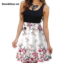 Load image into Gallery viewer, Summer Women Round Neck Dress Casual Sleeveless Dress Floral Printed Dress Slim Flower Dress