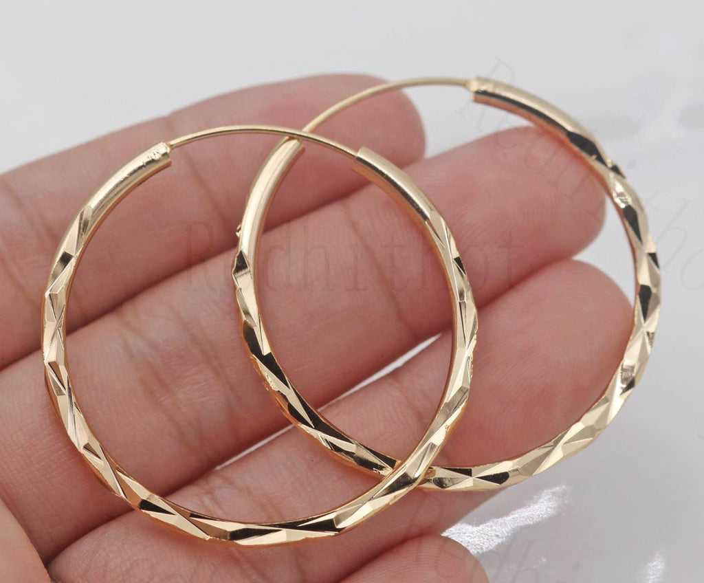 18K Gold Filled - Dia. 1.4 Big Hoop Geometry Concave &convex Women Pageant Earrings
