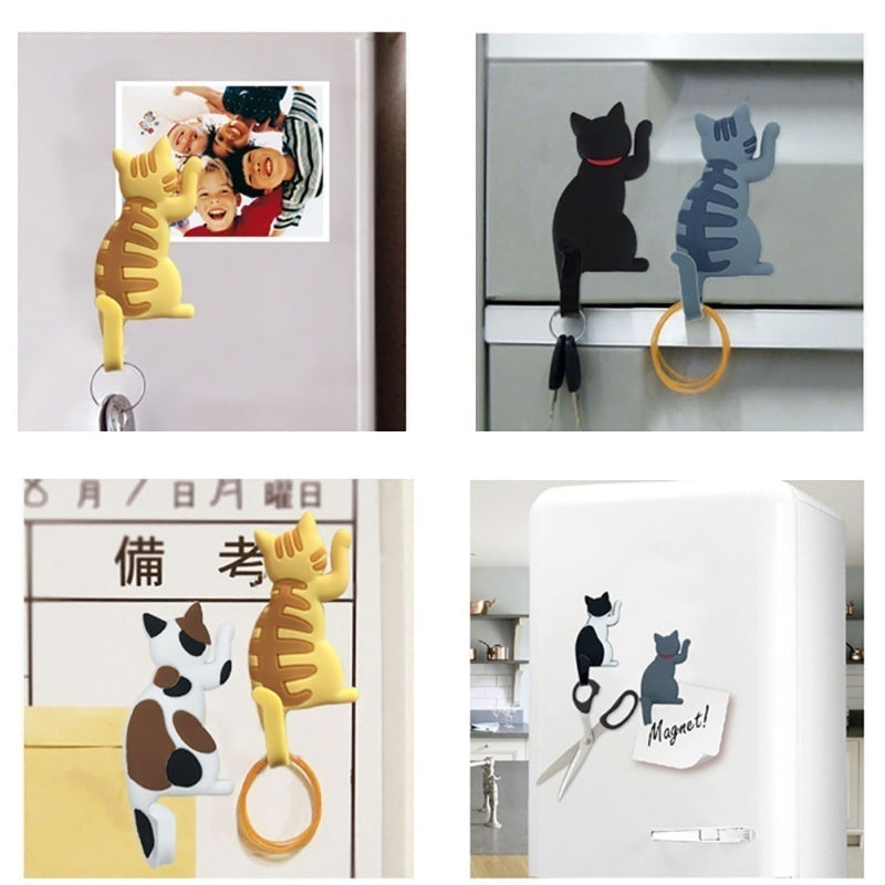 Creative Cartoon Lovely Cat Magnetic Sticker Fridge Magnet Hook Refrigerator Sticker Creative Hooks White Broad Memo Pad Sticker