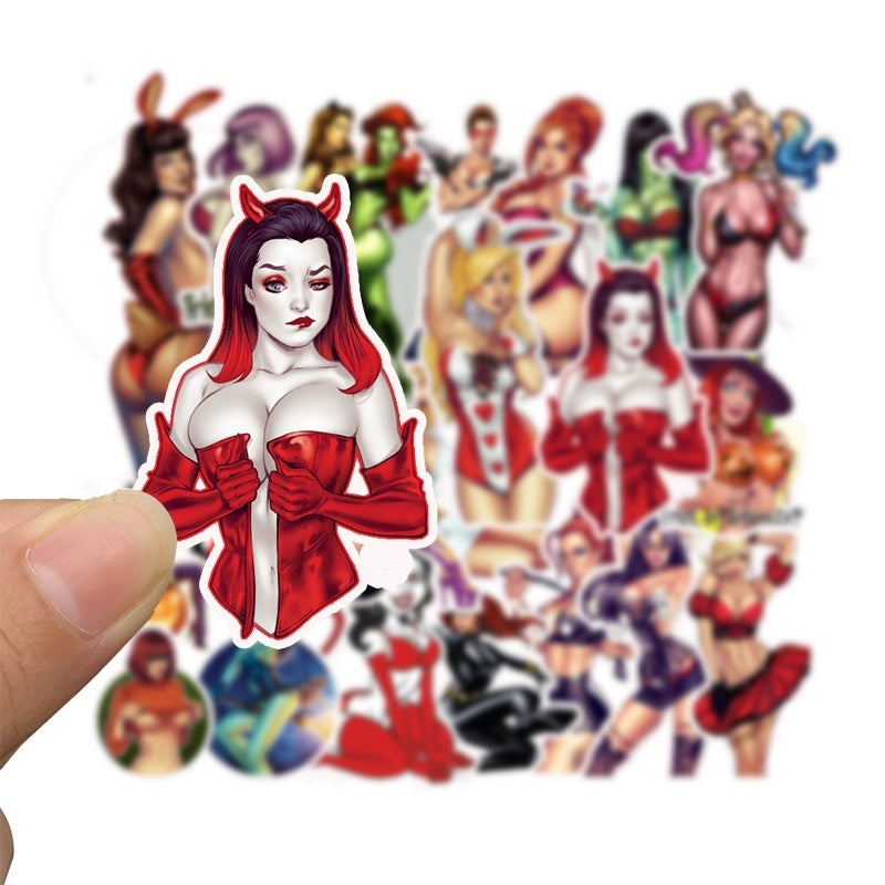 50 Pcs Classic Toys Sexy Lady Stickers Devil Women Skateboard Stickers Motorcycle Bicycle Waterproof Cartoon Stickers
