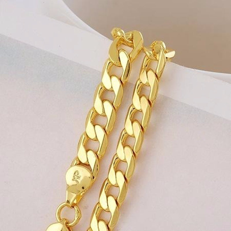 24k Gold Long Chain Necklace Men Jewelry Brand Gothic Gold Color Male Necklace Gifts(Size:18-30inch )