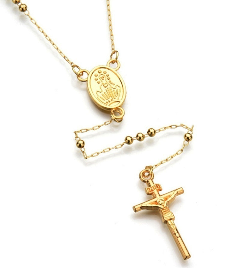 18K Gold Fashion Cross Rosary Pendant Necklace Jesus Beads Cross Hip Hop Necklace