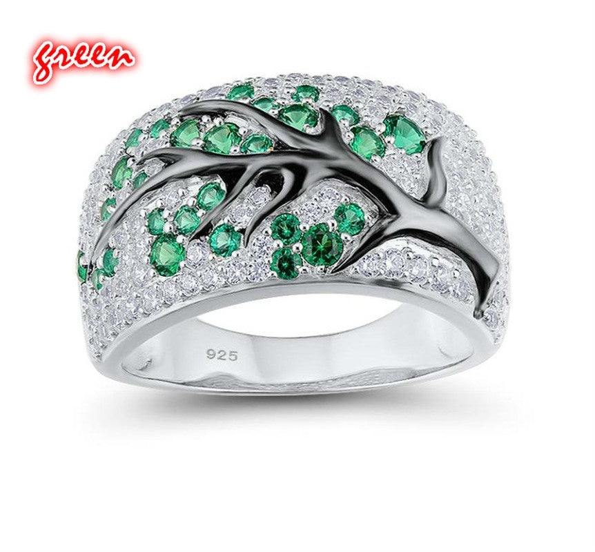 Exquisite Women's 925 Sterling Silver Ring Plum Branches Flowers Flowers Bridal Shop Diamond Diamond Jewelry Anniversary Commitment Gift Engagement Party Marriage Five Colors Diamond Ring [Green, Blue, Purple, Pink Red