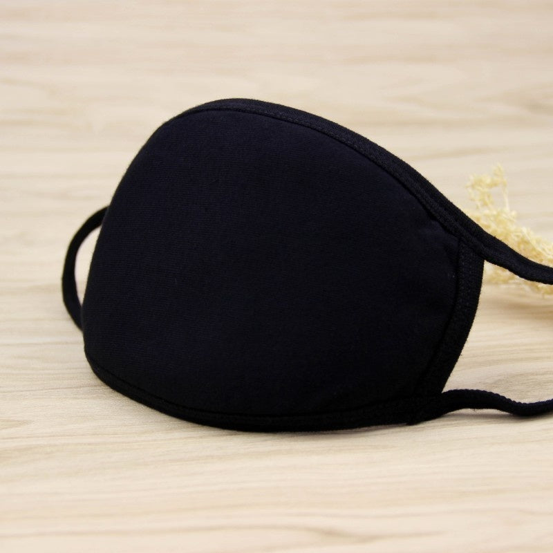 Women Men Cotton Face Masks Pattern Solid Black Mask Fashion Cute Half Face Mouth Muffle