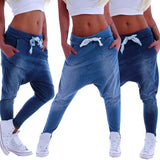 Women Fashion Elastic Waist Baggy Harem Jeans Casual Denim Loose Jogging Yoga Pant Plus Size S~XXXL
