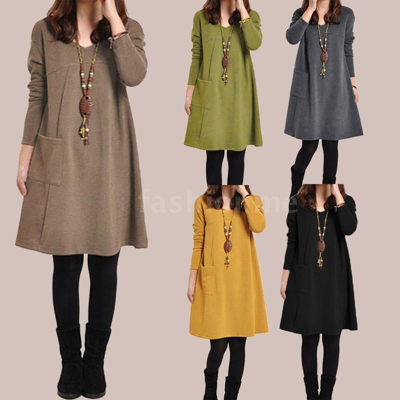 Autumn Winter Women Dress Plus Size Long Sleeves Pockets Solid V Neck Loose Dress