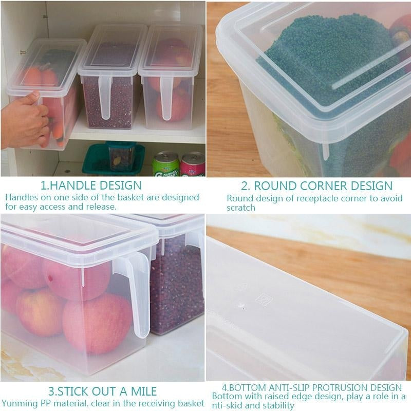 auli? 4.7L Refrigerator Food Storage Bins, Storage Box,Food Containers with Lid for Kitchen Fridge Cabinet Freezer Organizer