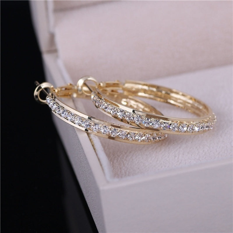 Unique Women Fashion Golden 18K Gold Filled Rhinestone Crystals Earrings Engagement Wedding Jewerly