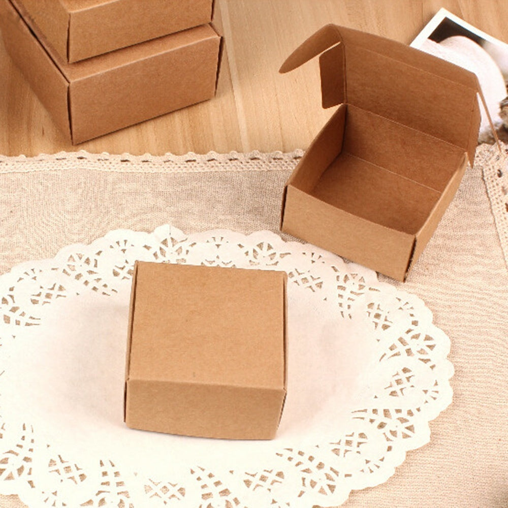 10PCS Gift Cardboard Small Bottom Kraft Paper Handmade Box Square Pack Wrapping