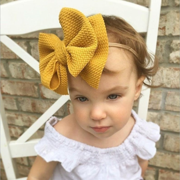 New Big Bow Hair Band Baby Hair Band Double Layer Bow Nylon Hair Band Newborn