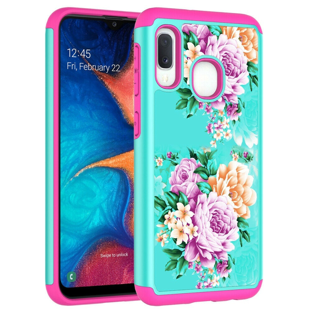Dual Layer Shockproof Patterned Case Cover for Samsung Galaxy A20e / A10e / A70 / A60 / A50 / A40 / A30 / A20 / A10 / M10 / M20 / M30 / M40